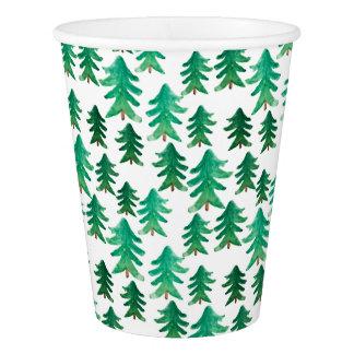 Gobelets En Papier Motif mignon d'arbre de Noël de Noël |