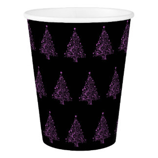 Gobelets En Papier Noir de rose de motif d'arbre de Noël élégant