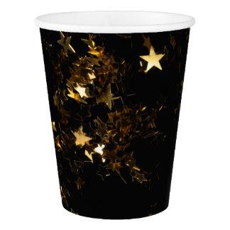 Gobelets En Papier Noir et tasses de papier d'étincelle d'étoile d'or
