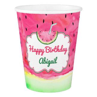 Gobelets En Papier Nom de coutume de tasse de joyeux anniversaire de