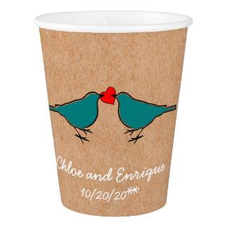Gobelets En Papier Oiseaux bleus et mariage de coeur d'amour