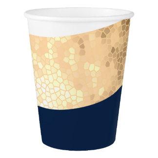 Gobelets En Papier or élégant de faux, bleu marine, rayures blanches