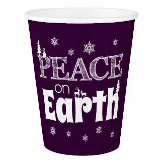 Gobelets En Papier Paix sur Noël de la terre