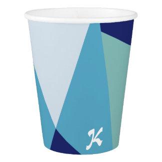 Gobelets En Papier Pastel géométrique élégant de bleu marine et de