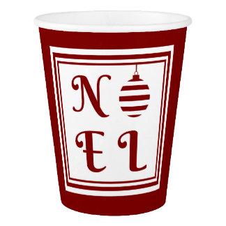 Gobelets En Papier Rouge et blanc de vacances de Noël de NOEL