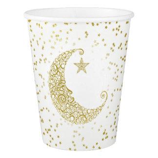 Gobelets En Papier Scintillement peu de tasse de livre blanc de lune