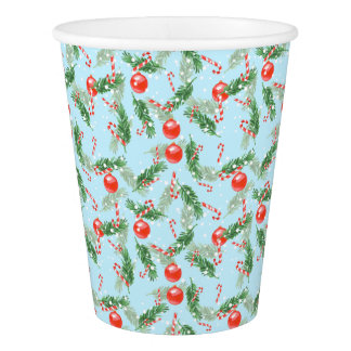 Gobelets En Papier Sucrerie d'aquarelle de Noël et motif de pins