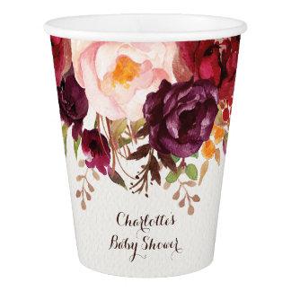Gobelets En Papier Tasse de papier de Boho de douche florale rustique