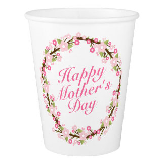 Gobelets En Papier Tasse de papier de mère de guirlande florale