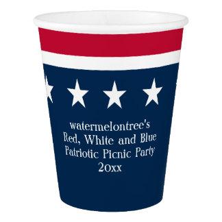 Gobelets En Papier Tasse de papier de partie patriotique bleue