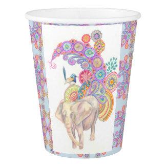 Gobelets En Papier tasse de papier d'éléphant et d'oiseau