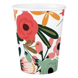 Gobelets En Papier Tasse de papier florale d'Anya