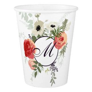 Gobelets En Papier Tasse de papier florale élégante du monogramme  