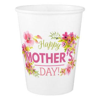 Gobelets En Papier Tasse de papier heureuse florale élégante du jour
