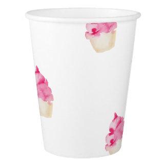 Gobelets En Papier Tasse de papier modelée par petit gâteau rose