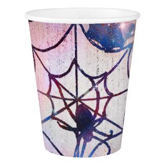 Gobelets En Papier Tasse de papier scintillante de toile d'araignée