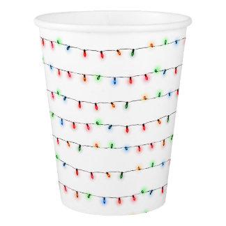 Gobelets En Papier Tasses de fête de Noël, lumières minuscules de
