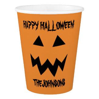 Gobelets En Papier Tasses de papier de Halloween de citrouille orange