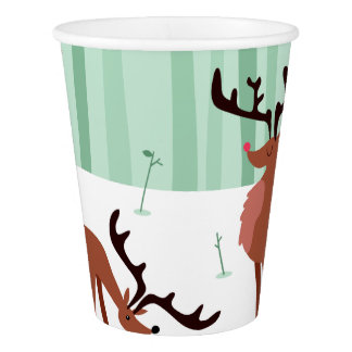 Gobelets En Papier Tasses de papier de Noël mignon de rennes