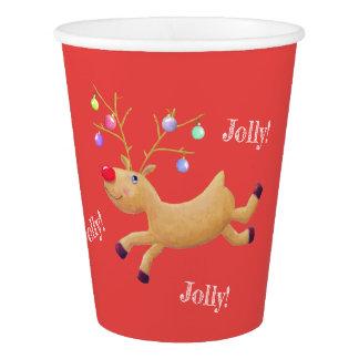 Gobelets En Papier Tasses de papier de vacances classiques de Rudolph