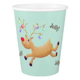 Gobelets En Papier Tasses de papier de vacances de Rudolph