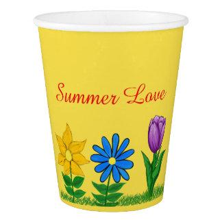 Gobelets En Papier Tasses de papier florales pourpres bleues de jaune