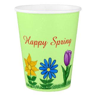 Gobelets En Papier Tasses florales de Livre vert de ressort heureux