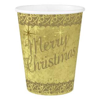 Gobelets En Papier Texture d'or de vacances d'étoiles de Joyeux Noël
