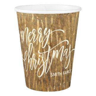 Gobelets En Papier Typographie de Joyeux Noël sur la texture de pluie