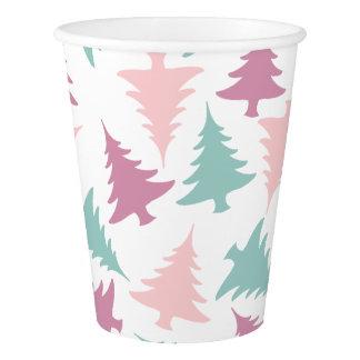 Gobelets En Papier Vert pourpre de rose en pastel de motif d'arbre de