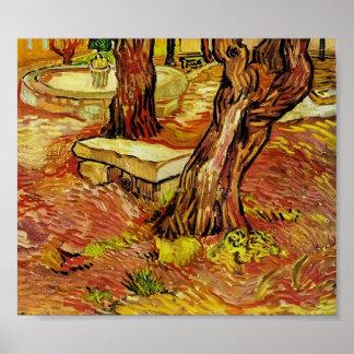 Gogh - le banc en pierre dans le jardin à St Paul Posters