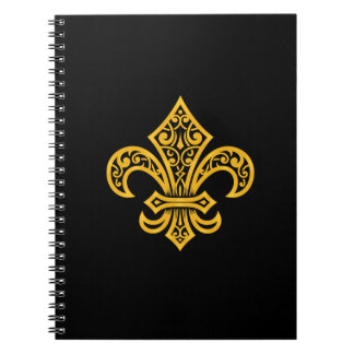 "Gold Fleur de Lis Notebook/journal (6,5"" x 8,75"") Carnet"