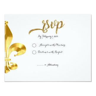 Gold Fleur de Lis RSVP Card Carton D'invitation 10,79 Cm X 13,97 Cm