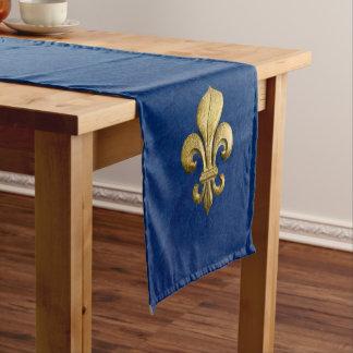 Gold Fleur De Lis simple sur le bleu Chemin De Table Court