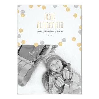 Gold Glitzern Foto Weihnachtskarte Carton D'invitation 12,7 Cm X 17,78 Cm