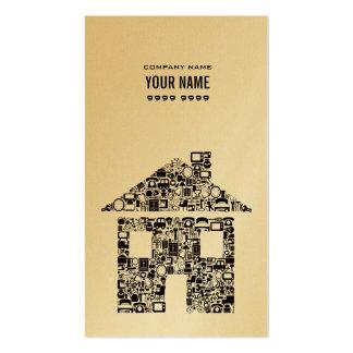 Gold  Metallic House Construction Business Card