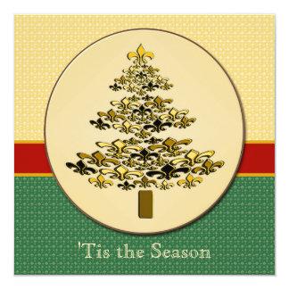 Golden Fleur de Lis Christmas Carton D'invitation 13,33 Cm