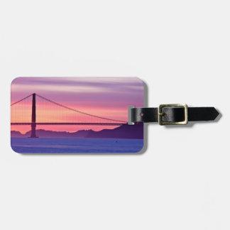 Golden gate bridge au coucher du soleil étiquette pour bagages