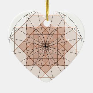golden rectangle flower ornement cœur en céramique