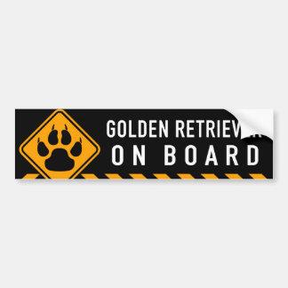 Golden retriever à bord autocollant de voiture