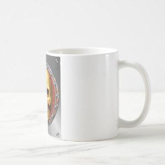 GOLDEN-SKULL avec la plaque arrière de Steampunk Mug Blanc