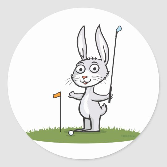 Golf de lapin sticker rond