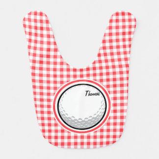 Golf ; Guingan rouge et blanc Bavoir