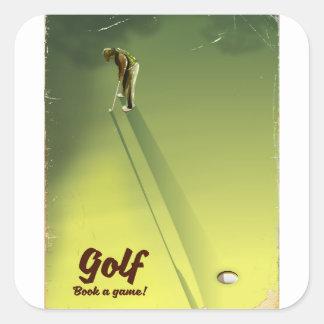 """Golf """"livre poster vintage d'un jeu"""" sticker carré"""