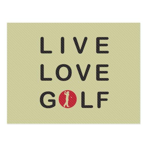 Golf vivant d'amour jouant au golf le noir rouge cartes postales