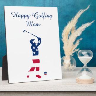 Golfeur de drapeau américain de golf des plaque photo