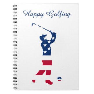 Golfeur de drapeau de l'Amérique de golf des Carnet