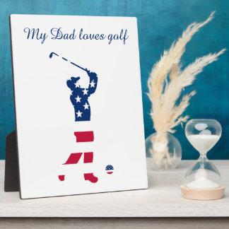 Golfeur de drapeau de l'Amérique de golf des Plaque Photo