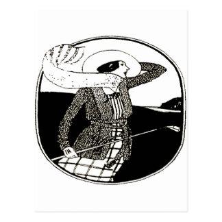 GOLFEUR VINTAGE DE FEMMES CARTE POSTALE