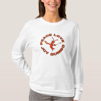 Gombo mignon de joie d'amour de paix d'écrevisses t-shirt